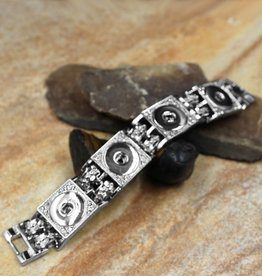 bracelet | silver | interlocked squares crystals | 4 snap button