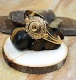 bracelet | gold | ornate flower w/crystals | 1 snap button