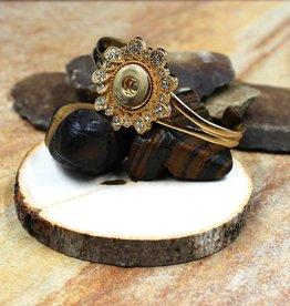 bracelet |  gold | large flower | 1 snap button