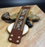 bracelet | brown | thick  strap with rhinestones | 1 snap button