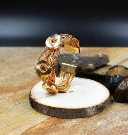 bracelet | gold | braided bangle | 3 snap button