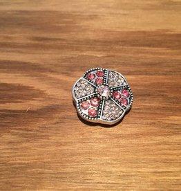 Snap Button Jewels™ | rhinestone | silver| flower pink white rhinestone dots