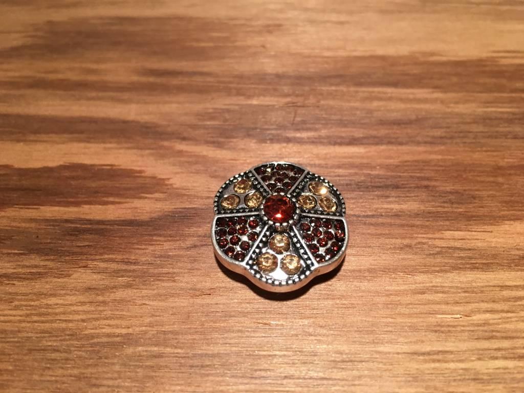 Snap Button Jewels™   rhinestone   silver  flower brown rhinestone dots