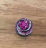 Snap Button Jewels™ | rhinestone | pink | silver spiral