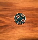 Snap Button Jewels™ | rhinestone | silver | teal blue stones white flowers