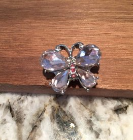 Snap Button Jewels™ | animal | silver pink | butterfly with crystal wings