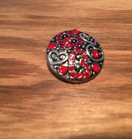 Snap Button Jewels® | rhinestone | silver |  red heart pattern