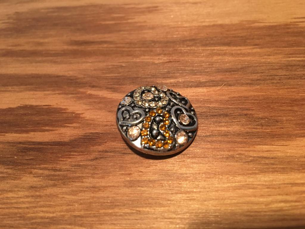 Snap Button Jewels™ | rhinestone | silver | gold cream rhinestone heart patterns