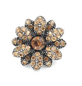 Snap Button Jewels® | rhinestone | brown gold | vintage flower