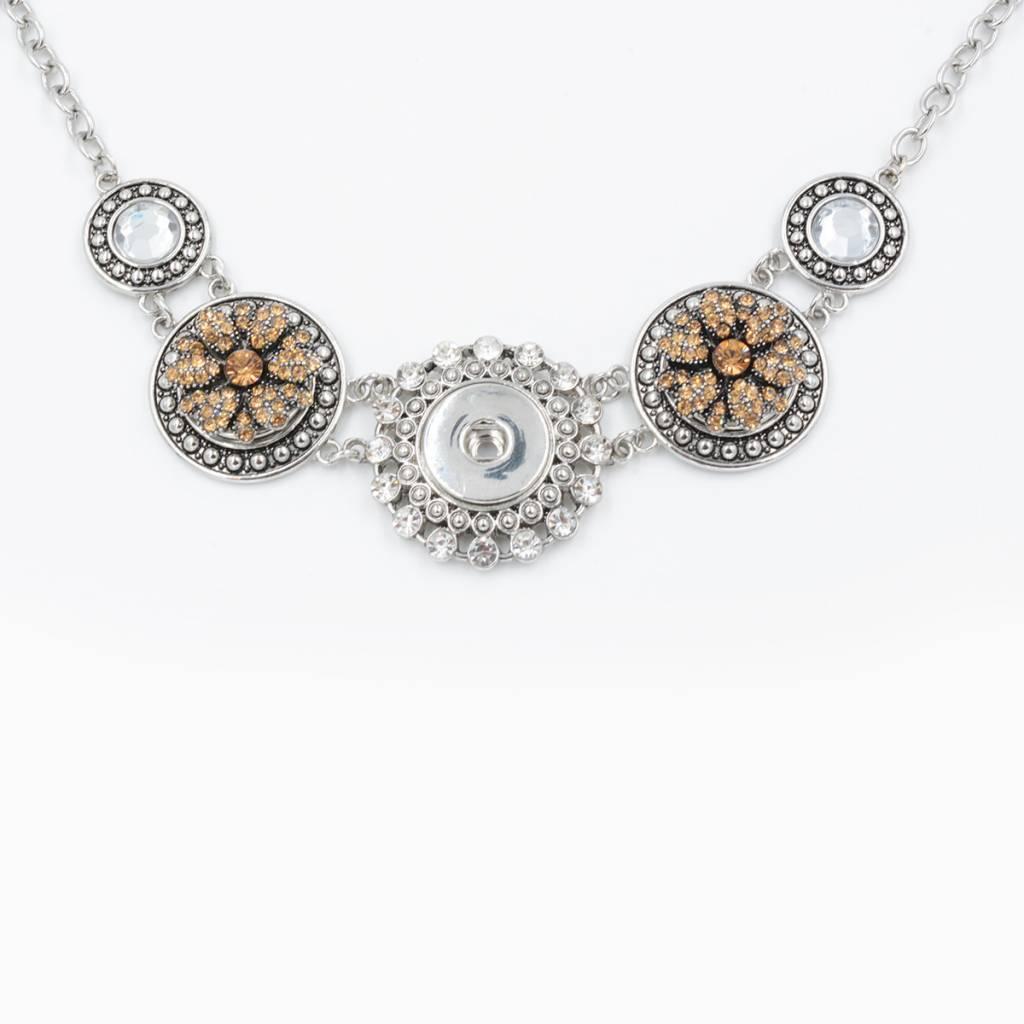Snap Button Jewels® | rhinestone | brown gold | vintage flower