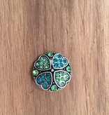 Snap Button Jewels™ | rhinestone | green | four leaf clover
