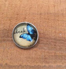 Snap Button Jewels® | glass canvas art | light blue | butterfly words