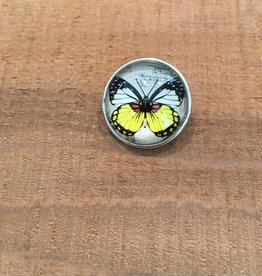Snap Button Jewels™ | glass canvas art | yellow white | big butterfly