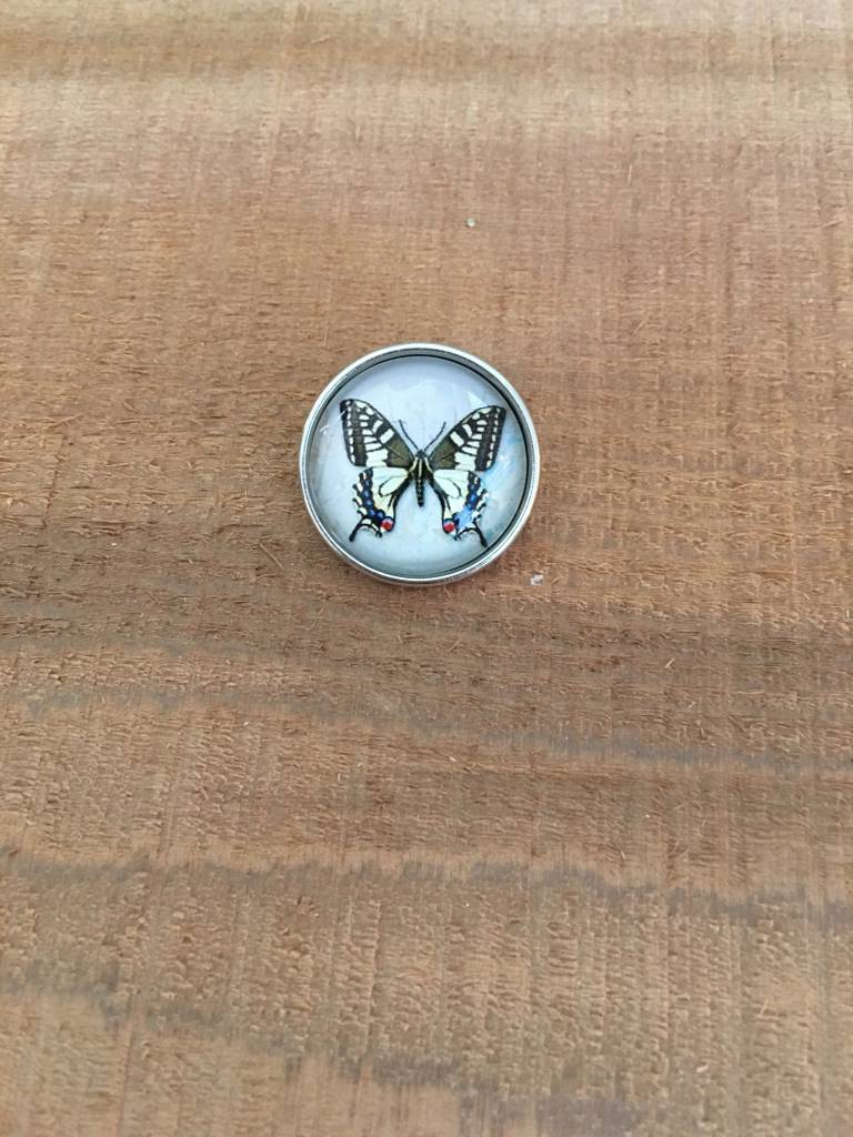 Snap Button Jewels™ | glass canvas art | white | yellow butterfly one orange dot wing