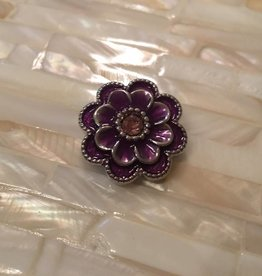 Snap Button Jewels™ | rhinestone | purple | enamel flower