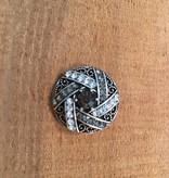 Snap Button Jewels® | rhinestone | silver | geometric lines black crystal dot center