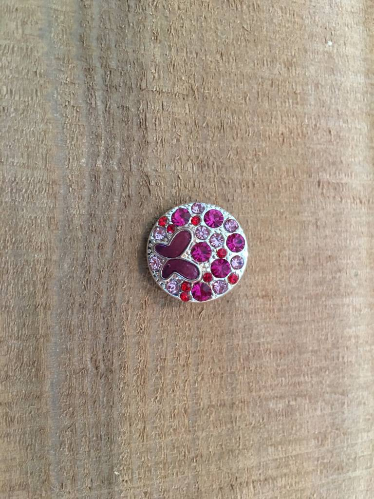 Snap Button Jewels™ | rhinestone | hot pink | butterfly multi stone