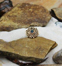Snap Button Jewels™   rhinestone   gold   flower blue stone center