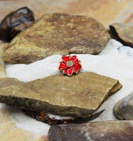 Snap Button Jewels™ | rhinestone | red | enamel flower gold center