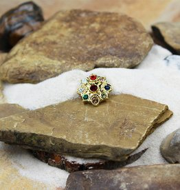Snap Button Jewels™ | rhinestone | gold | flower multi-color stones