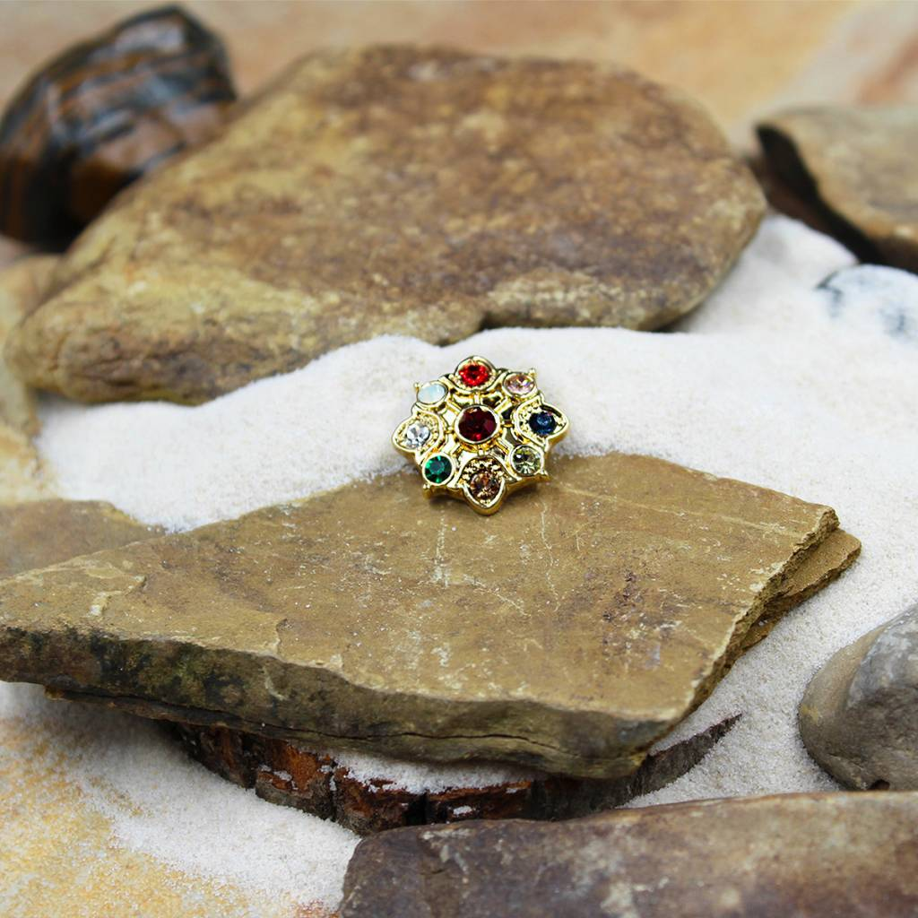 Snap Button Jewels™   rhinestone   gold   flower multi-color stones