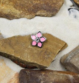Snap Button Jewels™ | crystal | pink | enamel flower crystal center