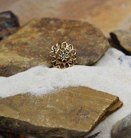 Snap Button Jewels® | rhinestone | gold | flower star center