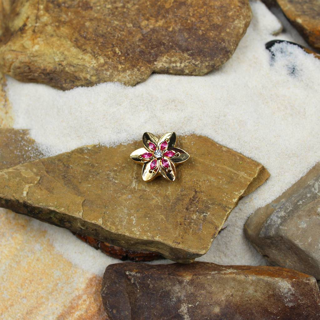 Snap Button Jewels™ | rhinestone | gold | flower pink stones center