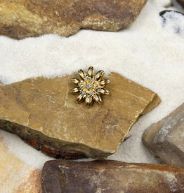 Snap Button Jewels™ | rhinestone | gold | daisy flower stones in center
