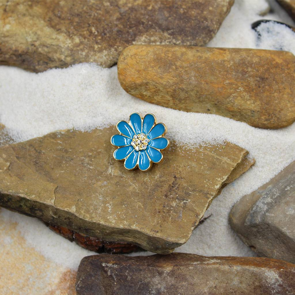 Snap Button Jewels™ | rhinestone | light blue  | enamel flower stone center