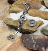 bracelet | silver | adjustable link | 1 snap button
