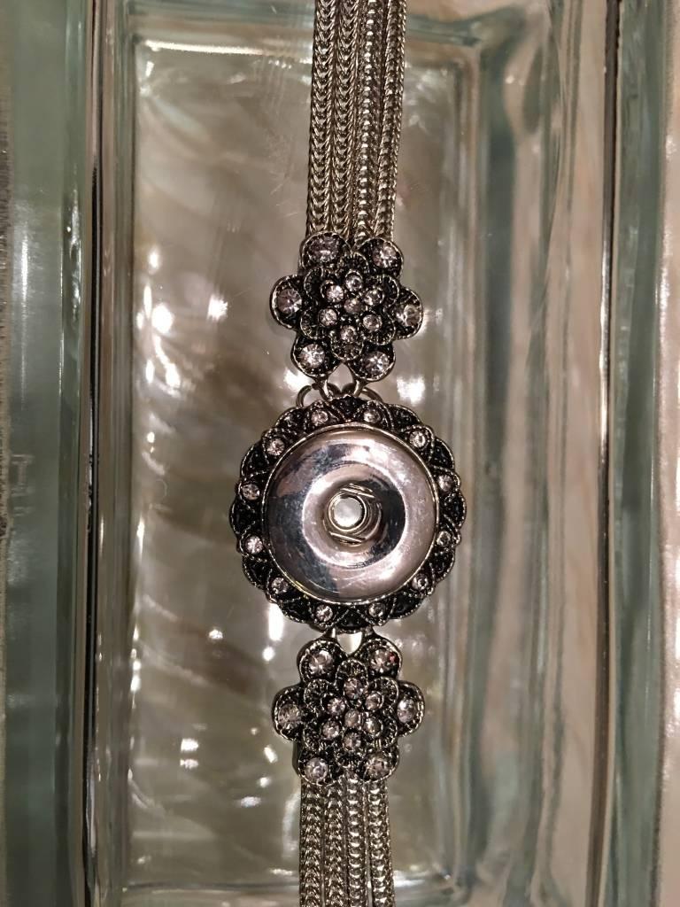 bracelet | silver | crystal flower | 1 snap button