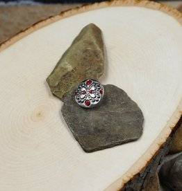 Snap Button Jewels™ | rhinestones | silver | embedded butterfly red stones