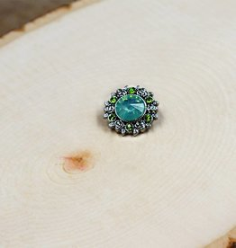 Snap Button Jewels™ | rhinestones | light blue | silver with green rhinestones