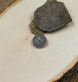 Snap Button Jewels™ | rhinestones | silver | circle green rhinestones center