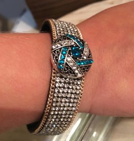 Snap Button Jewels™ | rhinestone | blue | geometric lines crystal dot center