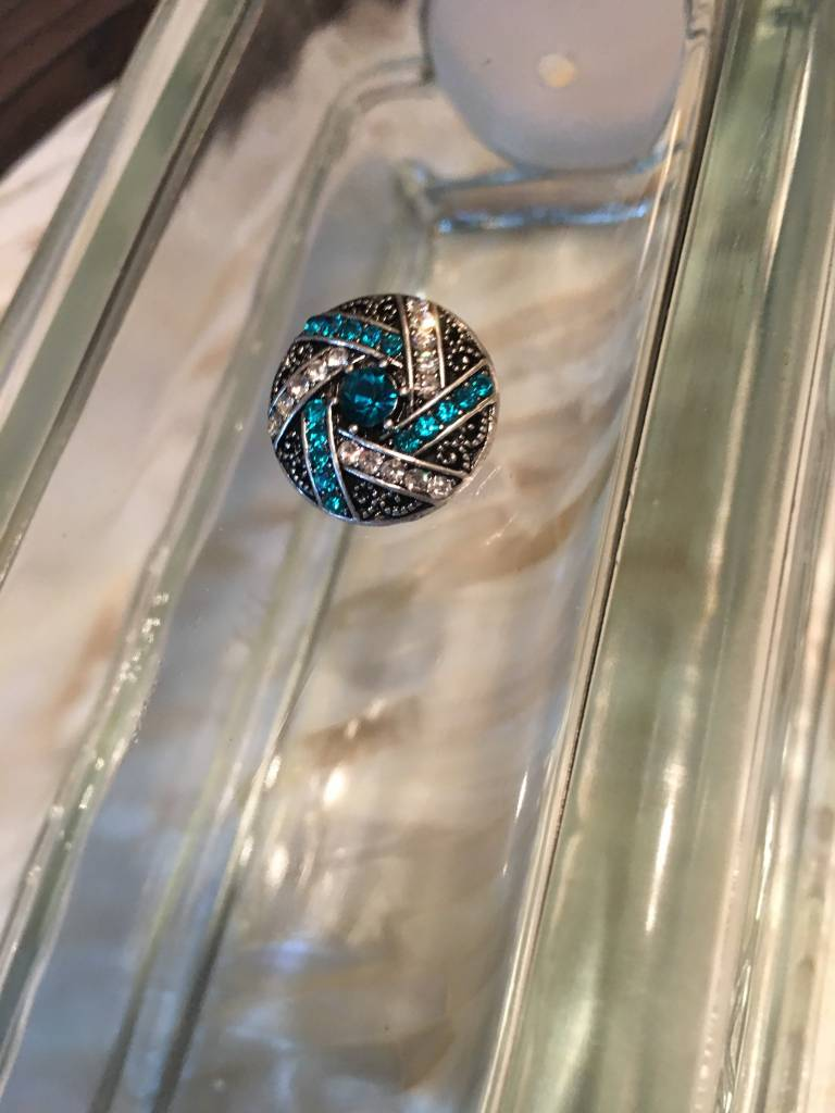 Snap Button Jewels™ | rhinestone | blue | geometric lines crystal dot center