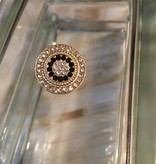 Snap Button Jewels™ | rhinestone | gold | crystal circle black stones