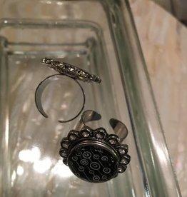 ring   silver   ornate flower rhinestones