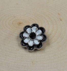 Snap Button Jewels™ | rhinestone | white | navy enamel flower