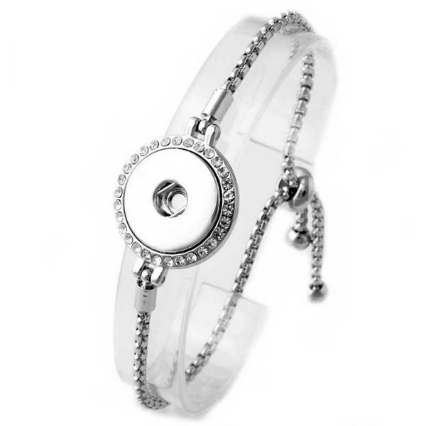 bracelet | silver | textured material infinity slide circle rhinestones | 1 snap button