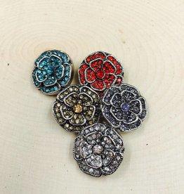 Snap Button Jewels™ | rhinestone | red | Double Rhinestone Vintage Flower