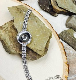 Bracelet | Silver | All Blinged out Rhinestone | 1 Snap Button