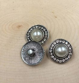 Snap Button Jewels® | rhinestone | silver | Faux Pearl with Rhinestone Circle