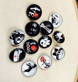 Snap Button Jewels® | glass fun | white | black dog