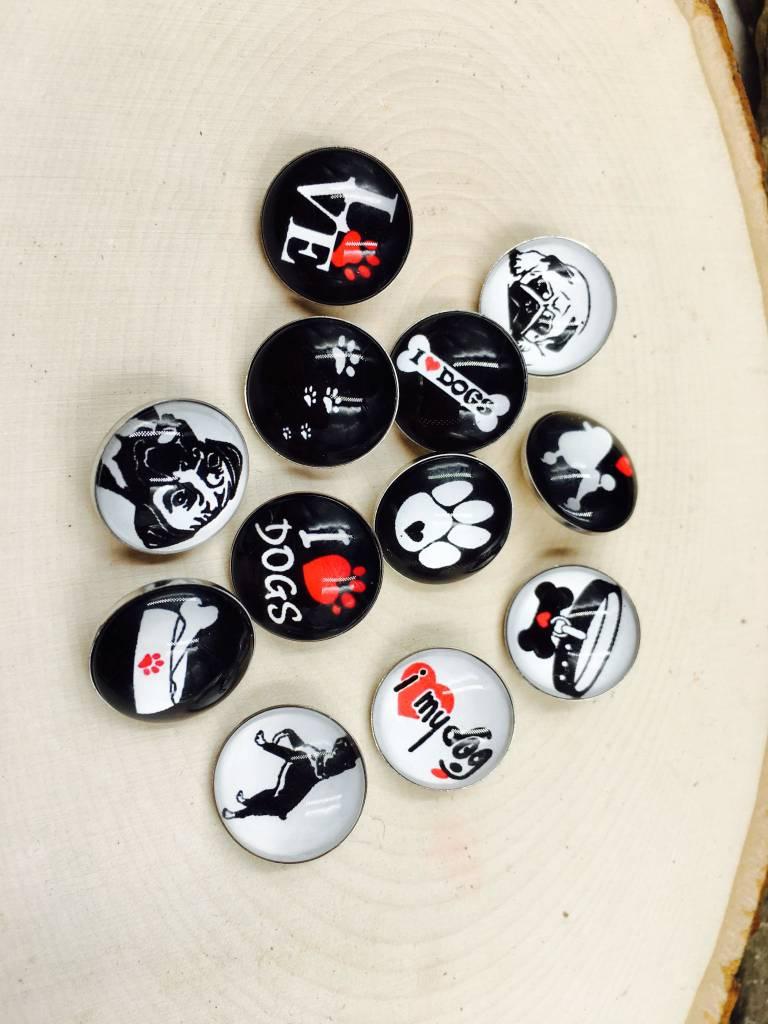 Snap Button Jewels® | glass fun | white | black dog