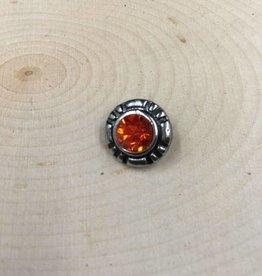 Snap Button Jewels™   Mini Snap   silver   Orange Rhinestone