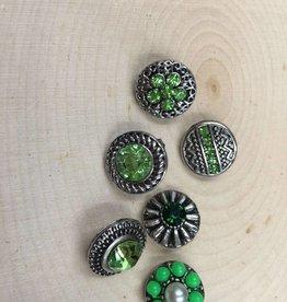 Snap Button Jewels™   Mini Snap   silver   Green Rhinestone