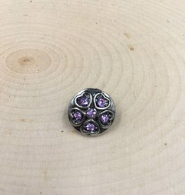 Snap Button Jewels™   Mini Snap   silver   Purple Rhinestone Heart