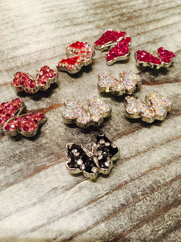 Snap Button Jewels® | rhinestone | white | Butterfly Bling